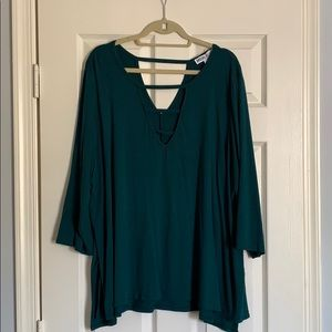 Tops - Green deep v top
